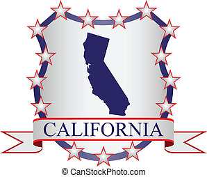 California crest with state map and stars