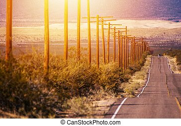 california, deserto, autostrada