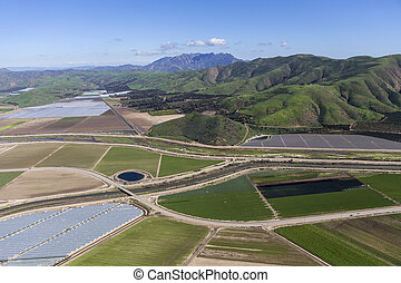 California Farm Fields and Santa Monica Mountains
