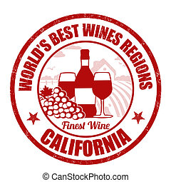 California, finest wine grunge rubber stamp on white...