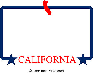 California state map, frame and name.
