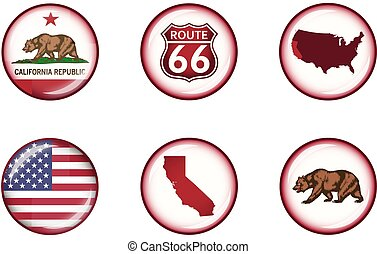 California Glossy Icon Set