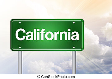 California Green Road Sign, Travel Concept