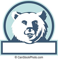 California Grizzly Bear Head Smiling Circle Retro -...