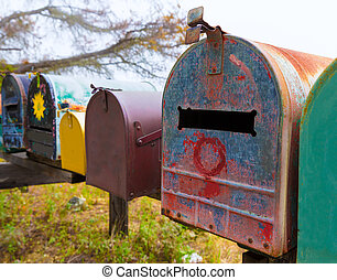 California grunge mailboxes along Pacific Highway Route 1
