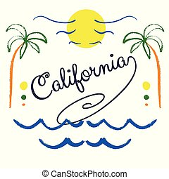 California hand drawn lettering.