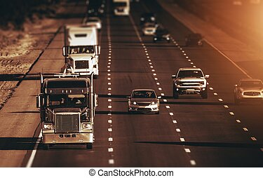 California Highway Traffic. Four Lanes One Direction Highway...
