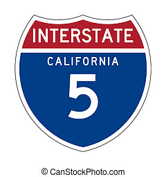 California Interstate Highway sign - American California...