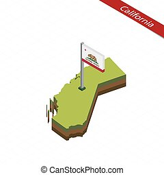 California Isometric map and flag. Vector Illustration. -...