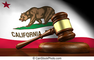 California law, legal system and justice concept with a 3d render of a gavel on a wooden desktop and the Californian flag on background.