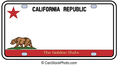 California License Plate in the colors of the state flag ...