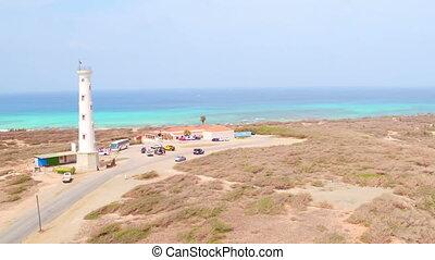 California lighthouse on Aruba - Aerial from California...