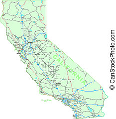 California Map - California map with interstates, US...