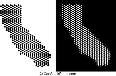 California Map Hexagon Mosaic