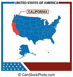 California Map with American Flag Fram