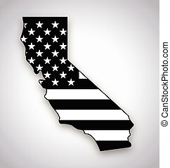 california map with usa flag black and white vector