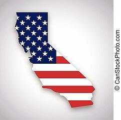 california map with usa flag vector
