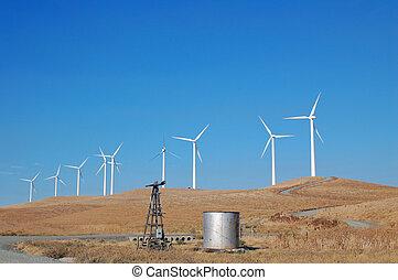California Modern Windmills - Modern windmills in northern...