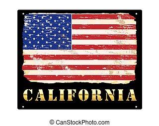 california, oro, smalto, segno