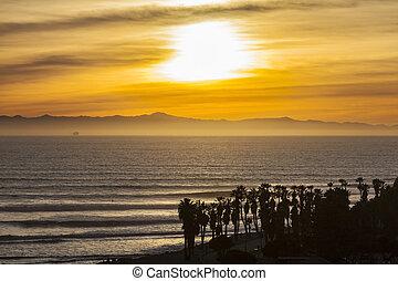 California Pacific Sunset in scenic Ventura County -...