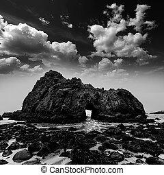 California Pfeiffer Beach in Big Sur State Park dramatic bw...