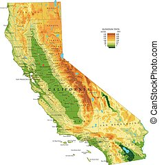 Highly detailed physical map of the California , in vector format, with all the relief forms, regions and big cities.