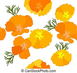 California Poppies - vector illustration seamless California...
