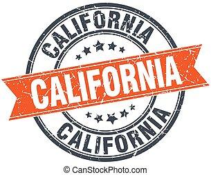 California red round grunge vintage ribbon stamp
