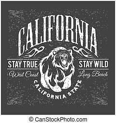California Republic vintage typography with a grizzly Bear,...