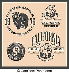 California Republic vintage typography with a grizzly Bear, ...