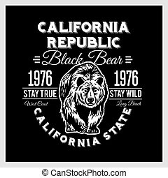 California Republic vintage typography with a grizzly Bear