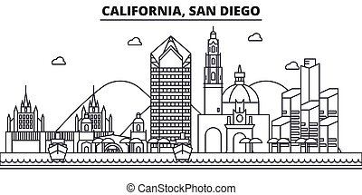 California San Diego architecture line skyline illustration....