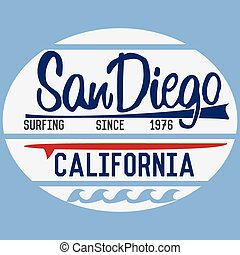 California San Diego typography, t-shirt Printing design, ...