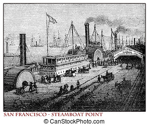 California, San Francisco Steamboat Point, old print