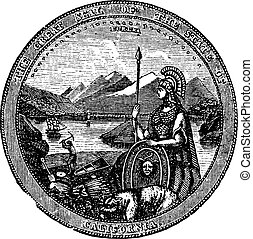 California , Seal, vintage engraving.