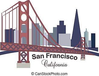 California skyline buildings logo