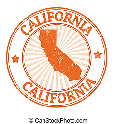 California stamp - Grunge rubber stamp with the name and map...