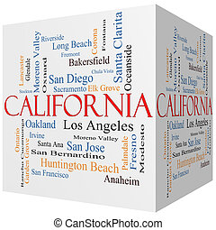 California State 3D cube Word Cloud Concept