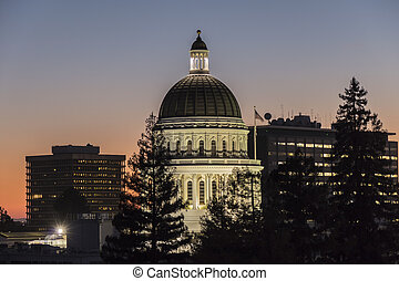 California State Capitorl Building Dome at Dusk