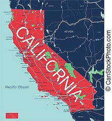 California state detailed editable map