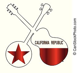 California State Flag Banjo And Guitar Silhouette