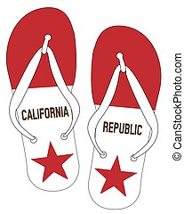 California State Flag Flip Flop Shoes