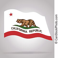 california state flag flying waving vector