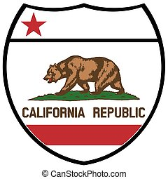 California State Flag In An Interstate Sign - California...