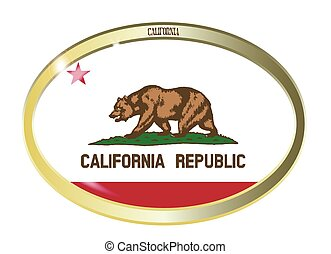 California State Flag Oval Button