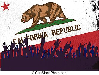 California State Flag with Audience