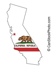 California State Outline Map and Flag