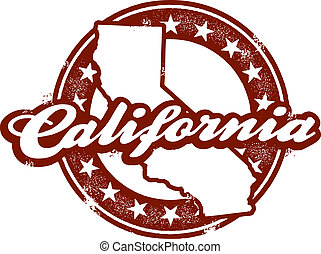 California State Stamp - A vintage style distressed...