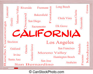 California State Word Cloud Concept on a Whiteboard