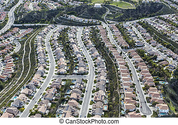 California Suburban Bedroom Community Aerial